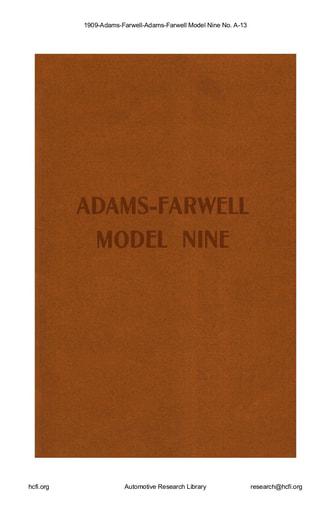 1909 Adams Farwell   Model Nine No  A 13 (10pgs)