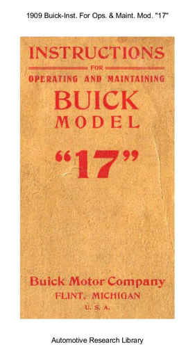 1909 Buick   Inst  For Operating and Maintaining Model ''17'' (31pgs)