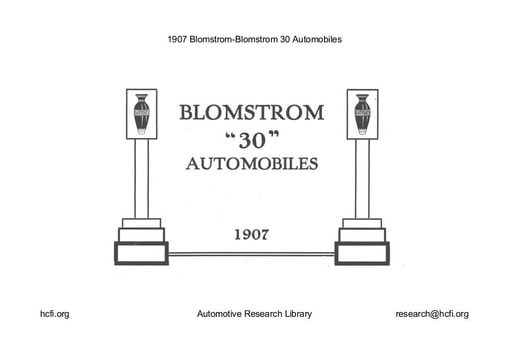 1907 Blomstrom 30 Automobiles (13pgs)