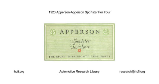 1920 Apperson   Sportster For Four (4pgs)