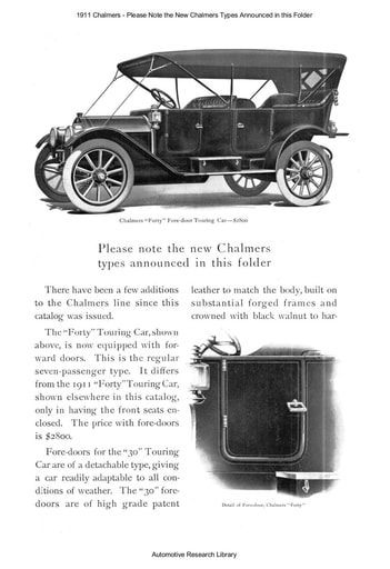 1911 Chalmers   Please Note the New Types (4pgs)