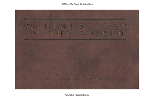 The Finest Car in the World   The Fox 1922