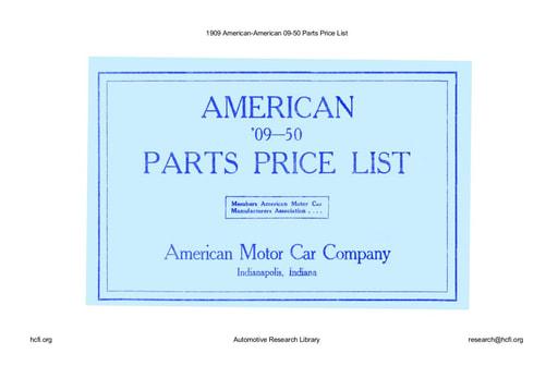 1909 American   09 50 Parts Price List (64pgs)