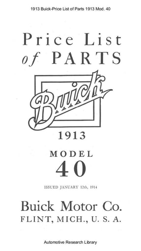 1913 Buick   Price List of Parts Mod  40 (80pgs)