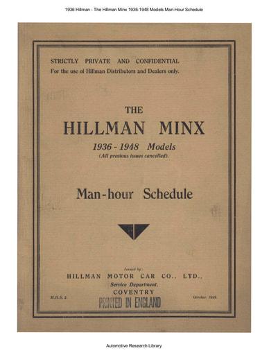 1936 Hillman Minx 1936 1948 Models Man Hour Schedule (10pgs)
