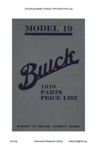 1910 Buick   Model 19 Parts Price List (51pgs)