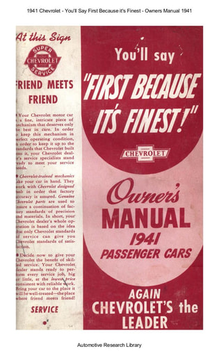 1941 Chevrolet   Owners Manual Passenger Cars (62pgs)