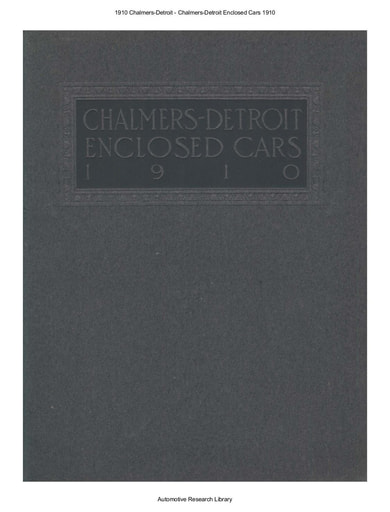 1910 Chalmers Detroit   Enclosed Cars (10pgs)