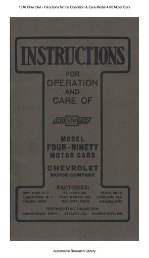 1916 Chevrolet   Inst  Chevrolet Model 4 90 (87pgs)