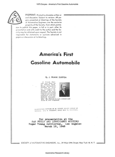 1875 Duryea   America's First Gasoline Automobile (12pgs)