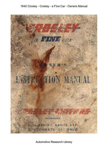 1942 Crosley   Owners Manual (31pgs)