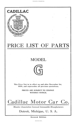 1908 Cadillac Price List of Parts Model G (32pgs)