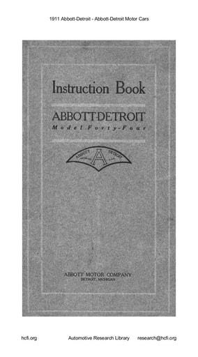 1911 Abbott Detroit   Motor Cars (33pgs)