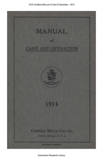 1914 Cadillac   Manual of Care & Operation (75pgs)