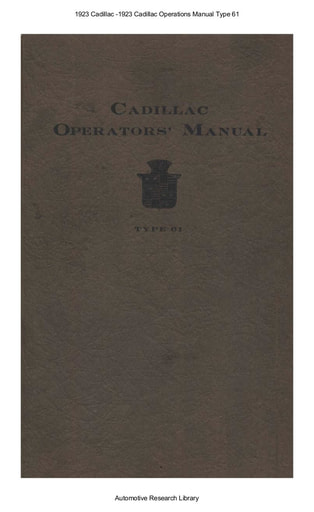 1923 Cadillac   Operations Manual Type 61 (70pgs)