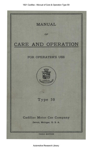 1921 Cadillac   Manual of Care & Operation Type 59 (73pgs)