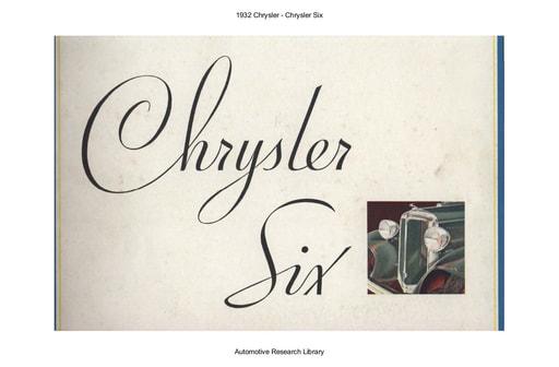 1932 Chrysler   Six (12pgs)