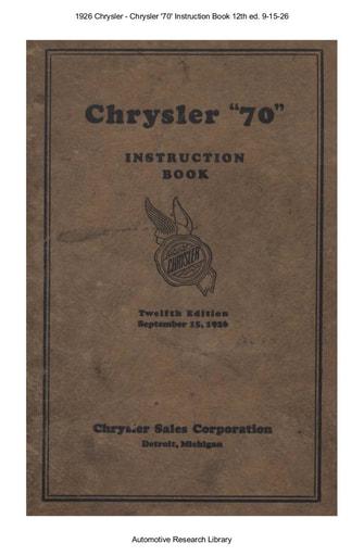 1926 Chrysler   70 Instruction Book 12th ed  9 15 26 (86pgs)
