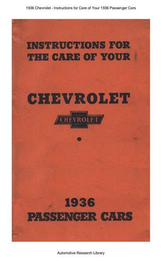 1936 Chevrolet   Inst  Passenger Cars (30pgs)