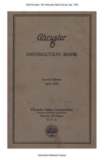 1930 Chrysler   60' Instruction Book 2nd ed  Apr  (78pgs)