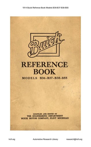 1914 Buick   Refrence Book Models B36 B37 B38 B55 (84pgs)