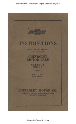 1927 Chevrolet   Inst  Capitol Series AA Jul  (75pgs)