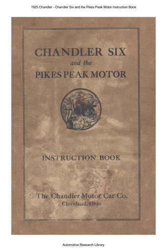 1925 Chandler   Six and the Pikes Peak Motor Inst  Book (32pgs)