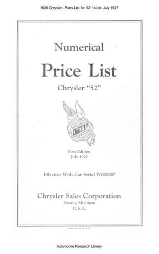 1928 Chrysler   Parts List for '52' 1st ed  Jul (45pgs)