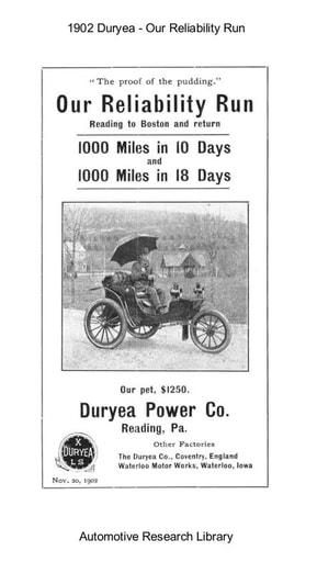 1902 Duryea   Our Reliability Run   Reading to Boston & Return (12pgs)