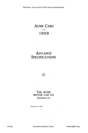 1909 Acme   Advance Specs (12pgs)