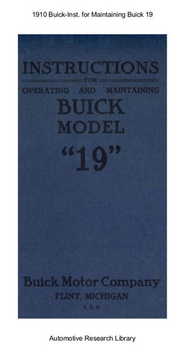 1910 Buick   Inst  for Operating and Maintaing Buick 19 (27pgs)