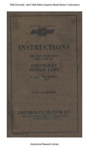 1926 Chevrolet   Apr  1926 Ed  Superior Model Series V Inst  (65pgs)