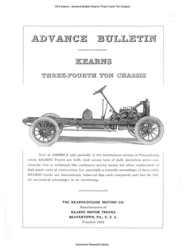 1914 Kearns   Advance Bulletin Kearns Three Fourth Ton Chassis