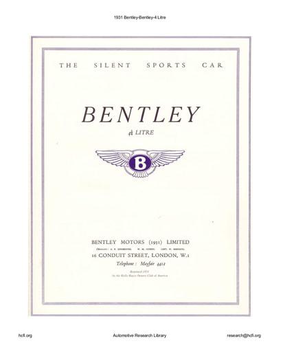 1931 Bentley   4 Litre (35pgs)