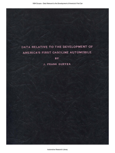 1894 Duryea   Data Relevant to the Development of America's First Car (33pgs)
