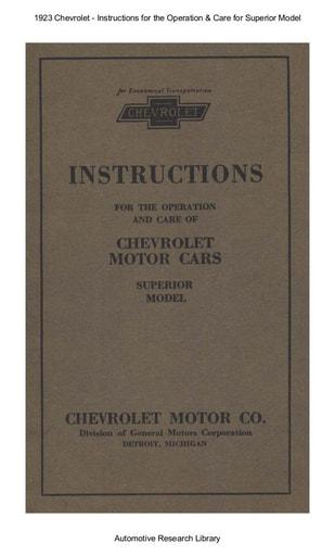 1923 Chevrolet   Inst  Superior Model (92pgs)