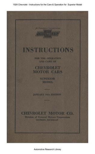 1924 Chevrolet   Inst  Superior Model (89pgs)