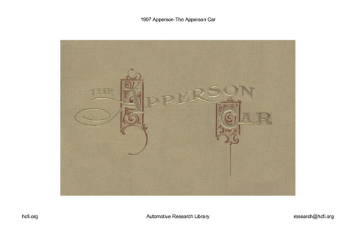 1907 Apperson   The Apperson Car (32pgs)