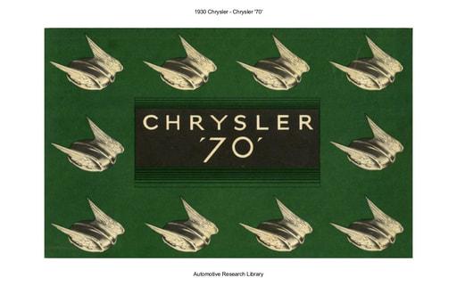 1930 Chrysler   '70' (5pgs)