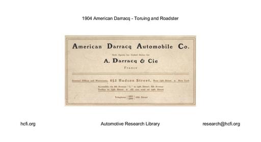 1904 American Darracq   Toruing and Roadster (6pgs)