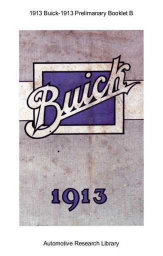 1913 Buick   Prelimanary Booklet B (15pgs)