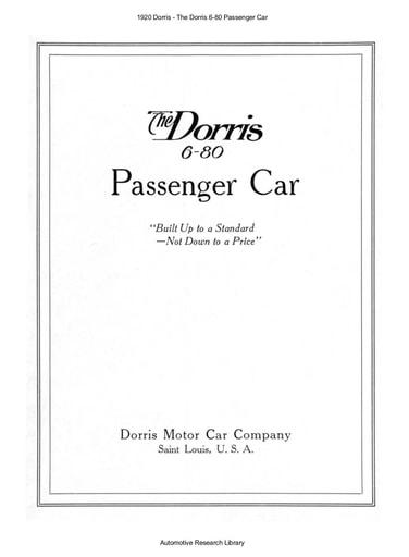 1920 Dorris   The 6 80 Passenger Car (20pgs)