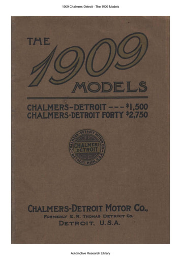 1909 Chalmers Detroit   The 1909 Models (37pgs)