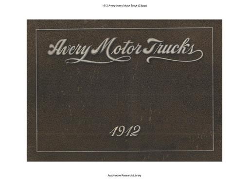 1912 Avery Avery Motor Truck (33pgs)