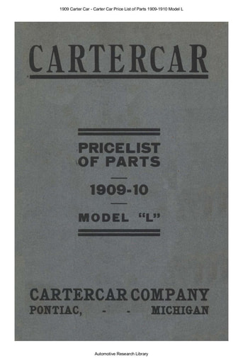 1909 Carter Car   Price List of Parts Model L (22pgs)