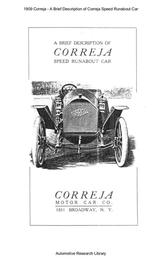 1909 Correja   A Brief Description   Speed Runabout Car (4pgs)