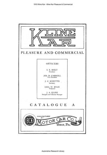 1910 Kline Kar   Pleasure & Commercial (12pgs)
