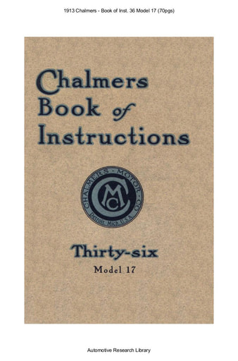 1913 Chalmers   Book of Inst  36 Model 17 (70pgs)