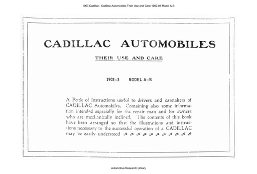 1903 Cadillac   Their Use and Care 1902 03 Model A B (32pgs)