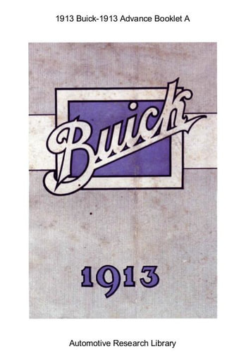 1913 Buick   Advance Booklet A (13pgs)